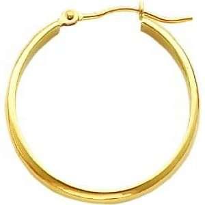 14K Yellow Gold Hoop Earrings Polished Ear Jewelry K