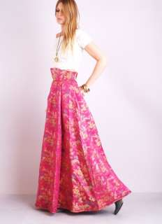 Vtg METALLIC BROCADE Cummerbund HIGH WAIST Sweep Supermodel Maxi Dress