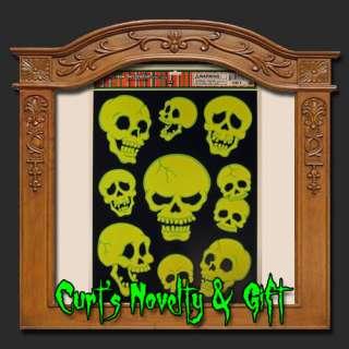 WINDOW CLING GID SKULL MIX Halloween Haunted Prop