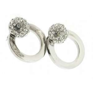 Steel and Crystal High Shine Door Knocker Style Stud Earrings Jewelry