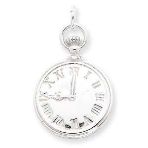 Sterling Silver Clock Charm Jewelry