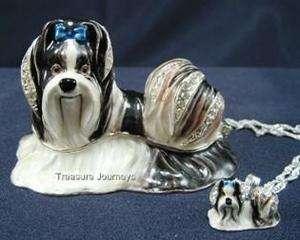 Swarovski Crystal Shih Tzu Dog Trinket Box w Pendant