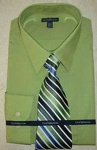 New Mens Croft&Barrow Grass Green Color Dress Shirt and Tie Set