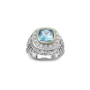 .925 Silver, 18k Gold Vermeil, CZ & Blue Topaz Cushion Cut