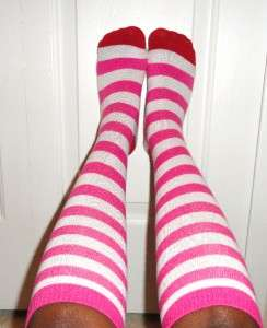 Well Worn Socks Striped Knee Socks Pink White and Red SeXXXy