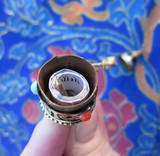 AMAZING 2 3/4 ROTATING BRASS OM MANTRA PRAYER WHEEL TIBETAN BUDDHIST
