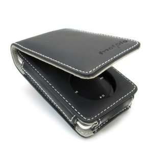 Black Leather Flip Case for Apple iPod classic 80GB Video