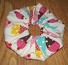 Cream Cones Design Handmade Cotton Fabric Hair Scrunchie/