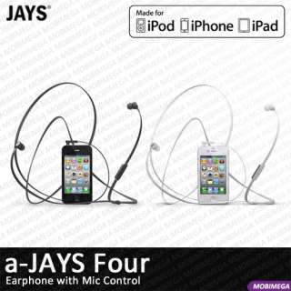 NEW a Jays Four Earphones Headset Mic Remote Control iPhone iPad iPod
