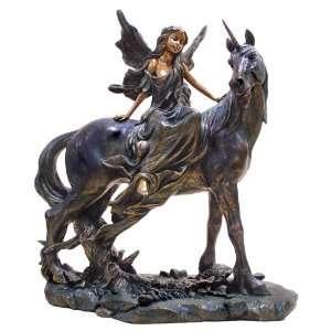 Fairy Riding Unicorn Outdoor Garden Sculpture