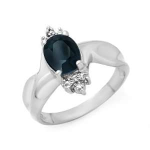 Genuine 1.58 ctw Sapphire & Diamond Ring 10K White Gold