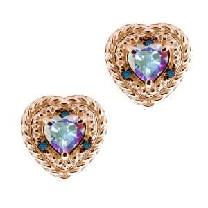 Mist Mystic Topaz Diamond Rose Gold Plated Silver Earrings Jewelry