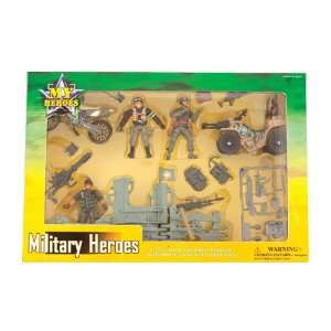 MILITARY HEROES TOY PLAYSET FIGURES TANKS FLAGS US ARMY