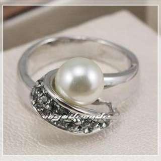 18K Gold GP Pearl Swarovski Crystals Ladys Ring size 7
