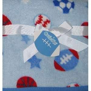 Cutie Pie Baby Blanket Sports Theme Blue Baby