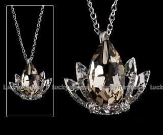 J99 Crown Brown Rhinestone Long Chain Necklace Pendant