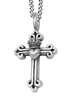 King QUEEN Baby Studio Crowned heart Cross Pendant
