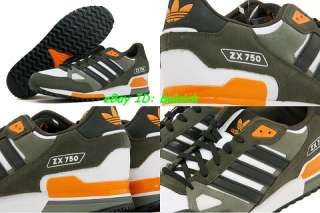 ADIDAS ZX 750 Trainers White Black Army Green  Suede running 800 new