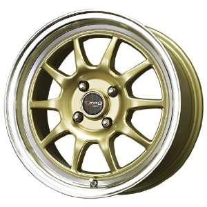Drag D16 Gold Machined Wheel (15x7/4x100mm) Automotive