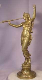 Antique Bronze Lady Blowing Horns Eugene Marioton