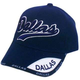 HAT CAP GORRA CHAPEU TEXAS DALLAS TX TEXAN VELCRO NAVY DARK BLUE WHITE