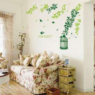 Removable Green Tree Leave Bird room wall decal vinyl Wall decor