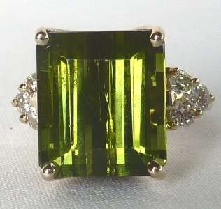 VINTAGE 18K WHITE GOLD CHROME GREEN TOURMALINE+ DIAMOND MODERNIST RING