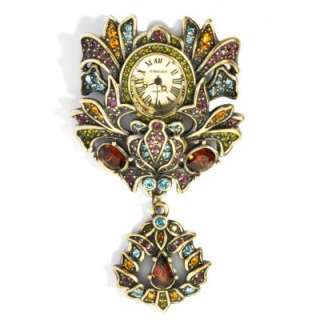 Heidi Daus Stamped Pavé Crystal Wreath Shaped Pin Watch