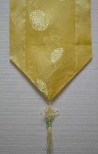 Chinese Silk Brocade Table Runner Longevity w/Tassel