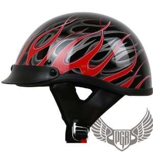 Crusier Style Skull Cap DOT Approved (S, Gloss Red Fire) Automotive