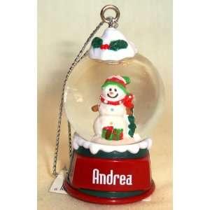 Andrea Christmas Snowman Snow Globe Name Ornament