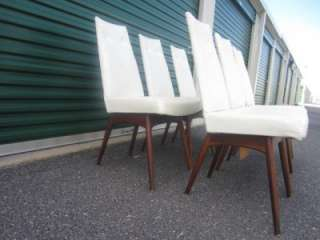 SET OF 6 ADRIAN PEARSALL WHITE VINYL HIGH BACK DINING CHAIRS MID