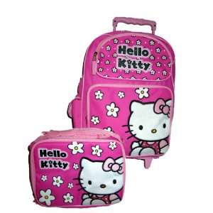 Hello Kitty Large Rolling Wheels Luggage Backpack Bag and