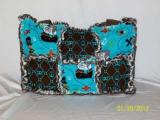 Treasure Aqua Brown Rag Quilt Diaper Bag Tote Purse Great Gift