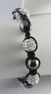 Pave Disco Ball(4Pcs) Crystal White Macrame Bracelets+Gift Box