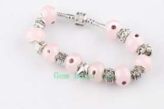 Glass Tibet Silver European Beads Charms Bracelets #35