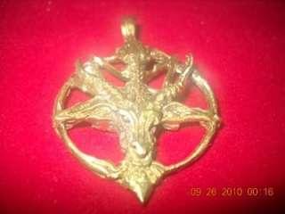 Satan Goat Baphomet Charm Devil Amulet Bronze Pendant Gold Plated 18KT