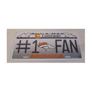 NFL DENVER BRONCOS #1 FAN TEAM METAL License Plate Sports