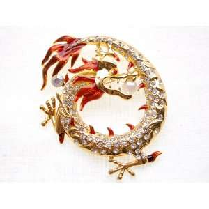 Fiery Circular Asian Emperor Dragon Pearl Bead Rhinestone Pin Brooch