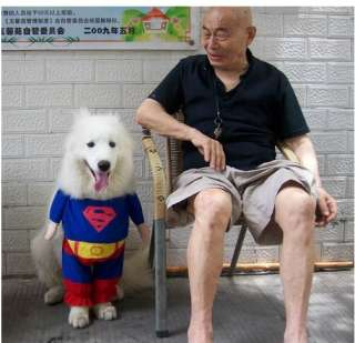 Free Shipping Hot Costumes Superman Suit Nice Pet Dog Clothes T Shirt
