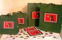 Tuxedo Greyhound Whippet Dog Gift Wrap Bags Set of 4