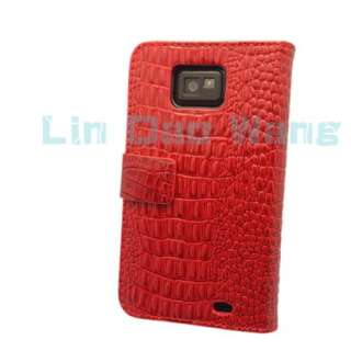 Red Fake Crocodile Leather Case Cover Pouch Book For Samsung Galaxy S