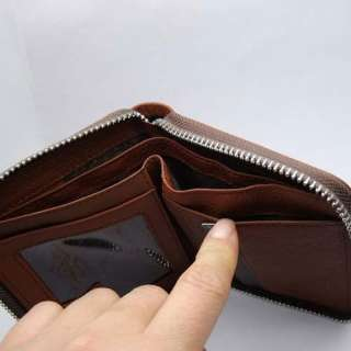 NEW Mens Brwon Genuine Real Leather zip Wallet Id card Checkbook Free