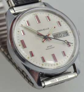Caravelle Bulova Red Vertical Block Markers Day/Date Ready to Wear