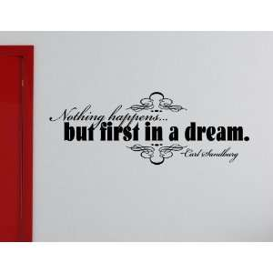 HAPPENS BUT FIRST IN A DREAM Vinyl wall lettering stickers quotes