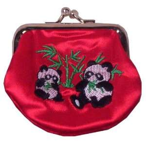 Red Embroidered Panda Satin Change Purse