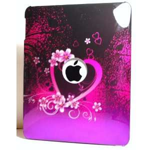 Pink with Purple Love Heart Design Apple Ipad Tablet Snap