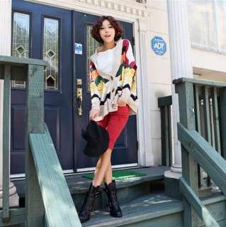 Fashion Korea Lady Rainbow Elephant Pattern Horn Button Cardigan