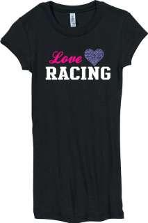 Juniors Love Racing Rhinestone Heart Black Shirt S XXL