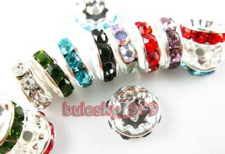 Mixed Color A+Grade Crystal Rhinestone Rondelle Bead 10mm R136